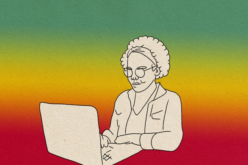 illustration of a young woman browsing the net on a laptop