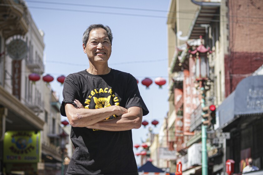 Russell Jeung, co-founder of Stop AAPI Hate, near the office of Chinese for Affirmative Action in San Francisco Chinatown