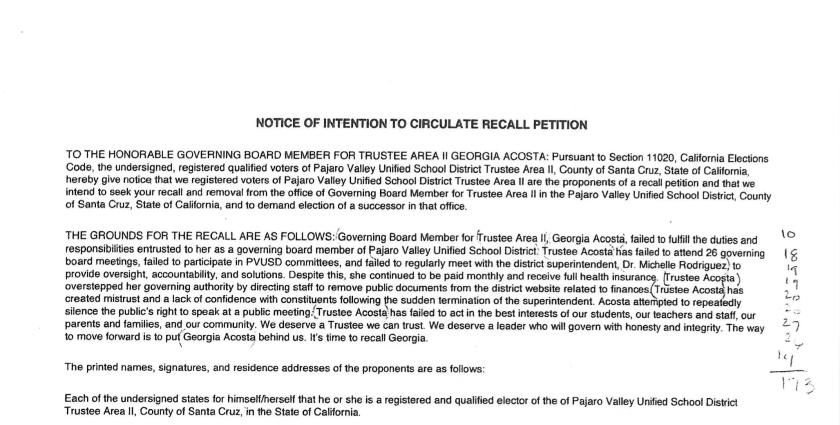Notice of intent to circulate a recall petition against PVUSD trustee Georgia Acosta.