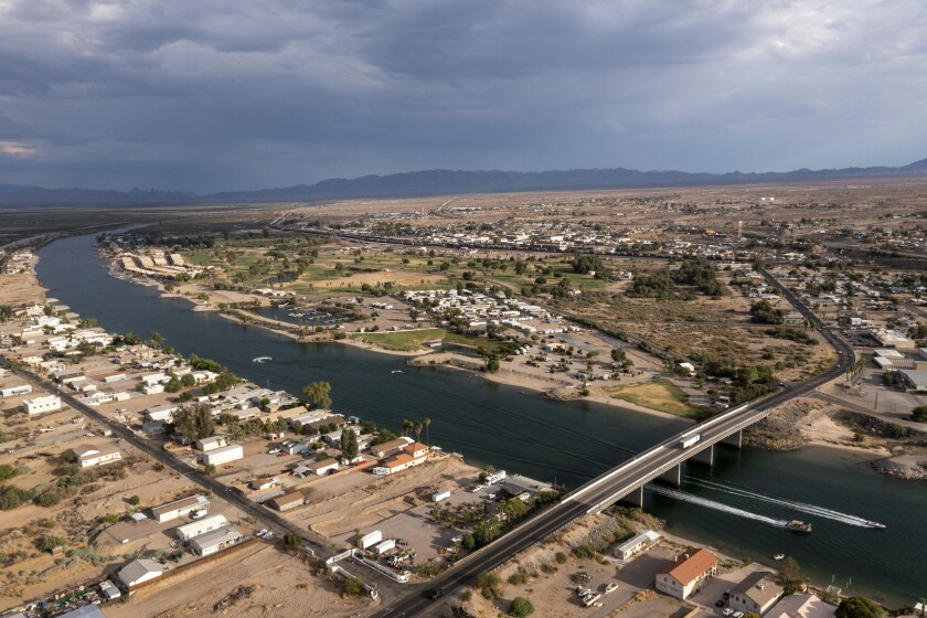 The Colorado River flows past the Mojave desert town of Needles.