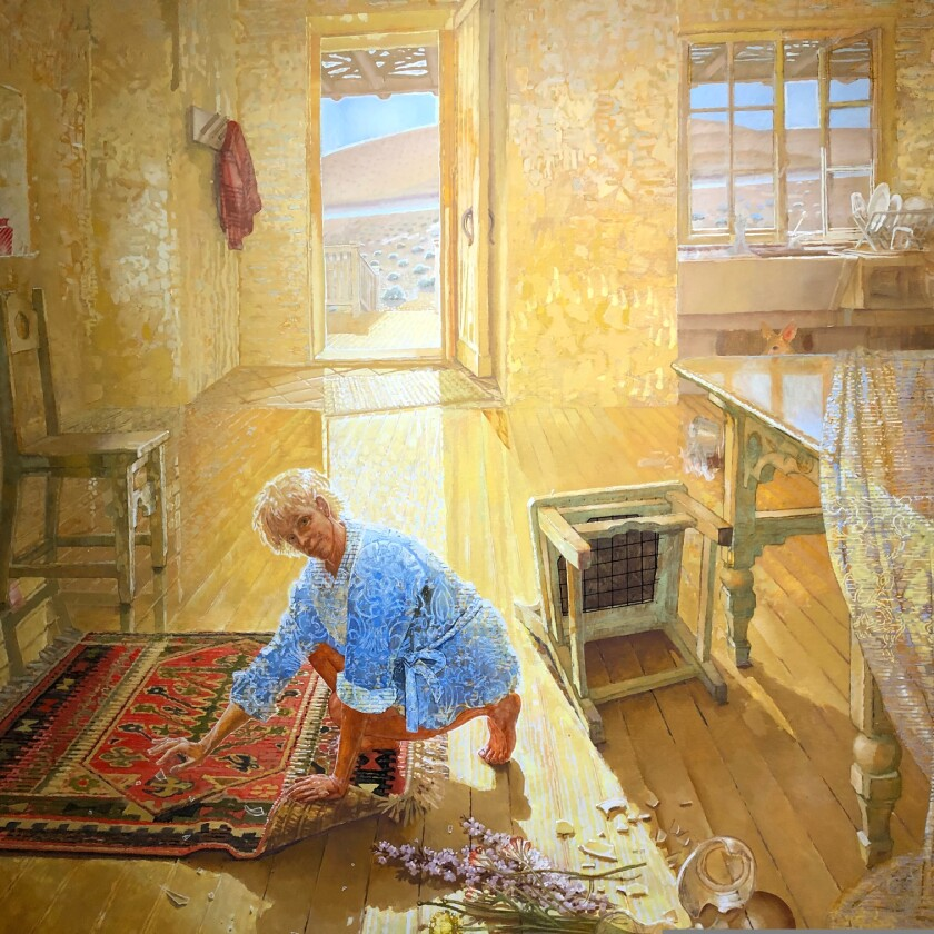 """""""Coyote in the Kitchen,"""" oil on linen, 78 by 80 inches, by Frank Galuszka"""