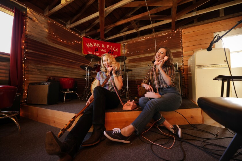 """Meghan Leslie (left) and Ella Warde also sometimes perform as a duo under the name """"The Diamond Sisters."""""""