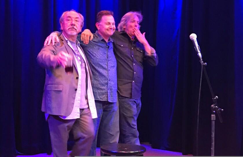 Will Durst (left) clowns around with Dan St. Paul and Richard Stockton on the stage at Kuumbwa Jazz Center.