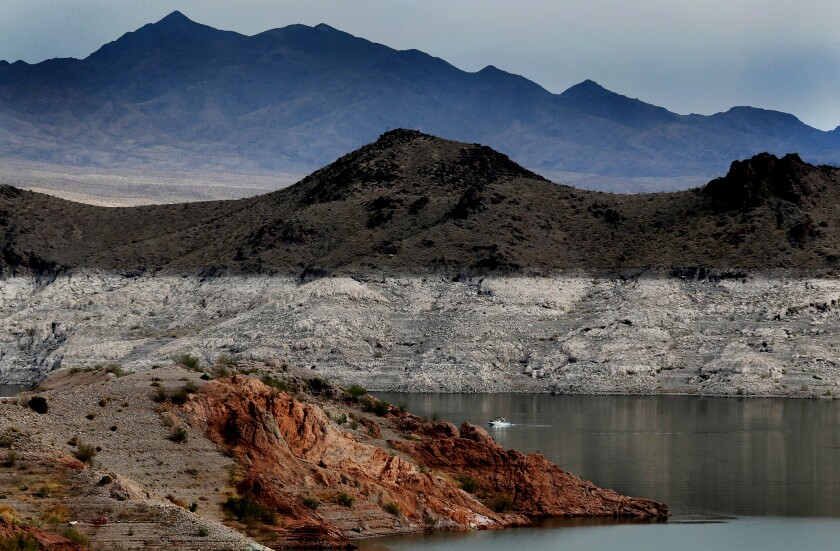 """A boat navigates Lake Mead, where there is a white """"bathtub ring"""" along the shore"""