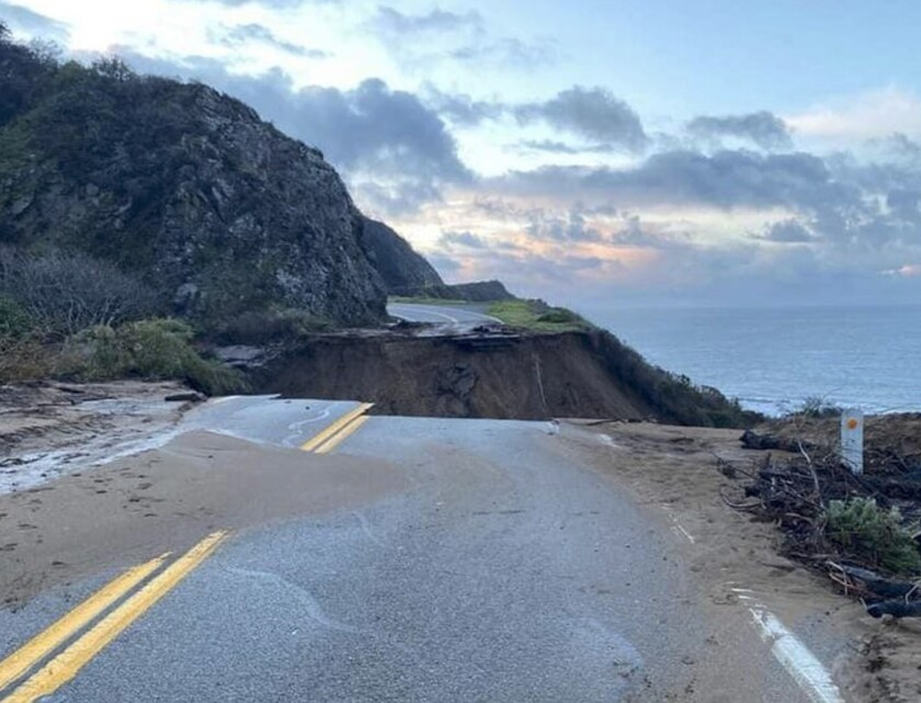 Picture of Highway 1 at Rat Creek the morning of Jan. 29, 2021. Caltrans reminds motorists to move over and slow down when driving through highway work zones.