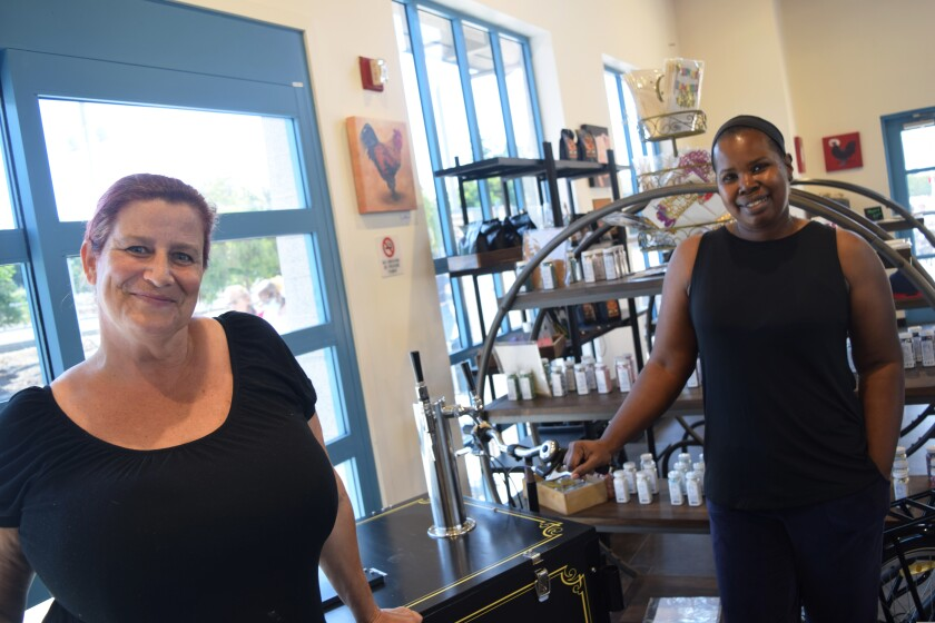 Erin Buchla (left) and Brandi-Di Palmer (right) of  Cruise Coffee Cafe in Scotts Valley.