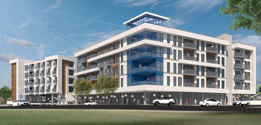 A preliminary rendering of the development at 831 Water Street in Santa Cruz.