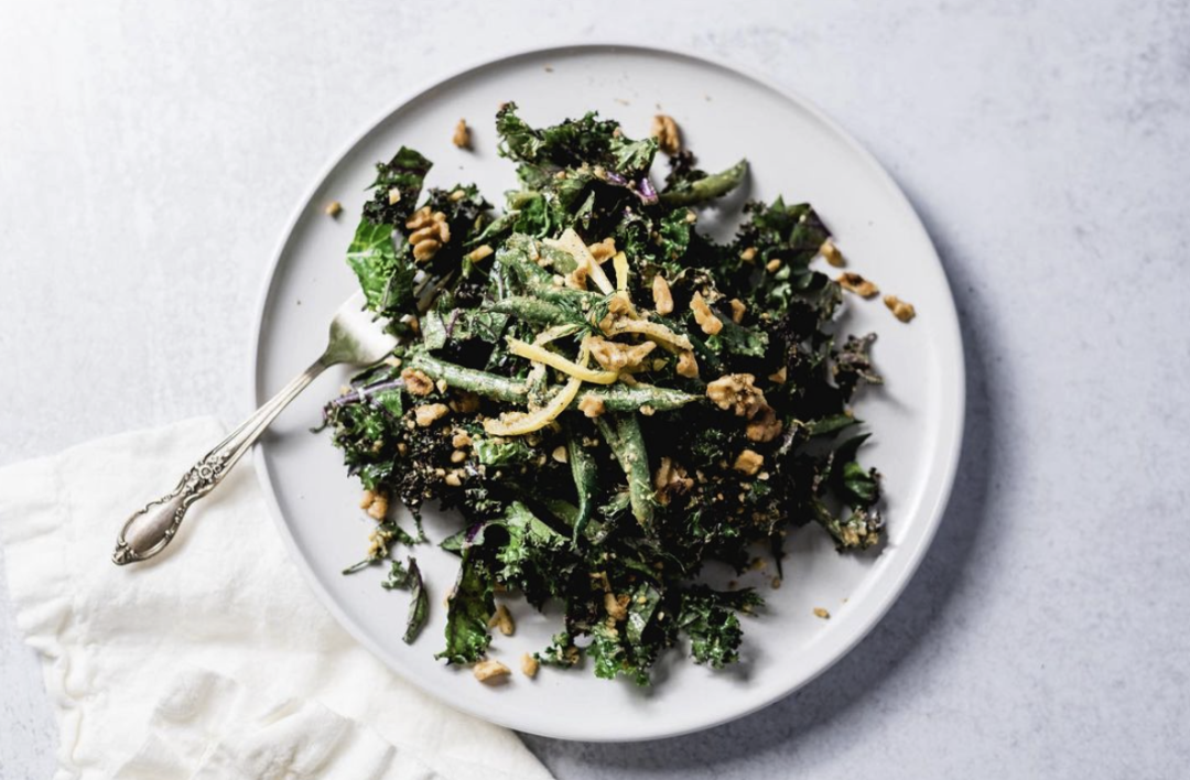 Mustardy Green Beans and Kale, Sprouted Walnuts and Preserved Lemon