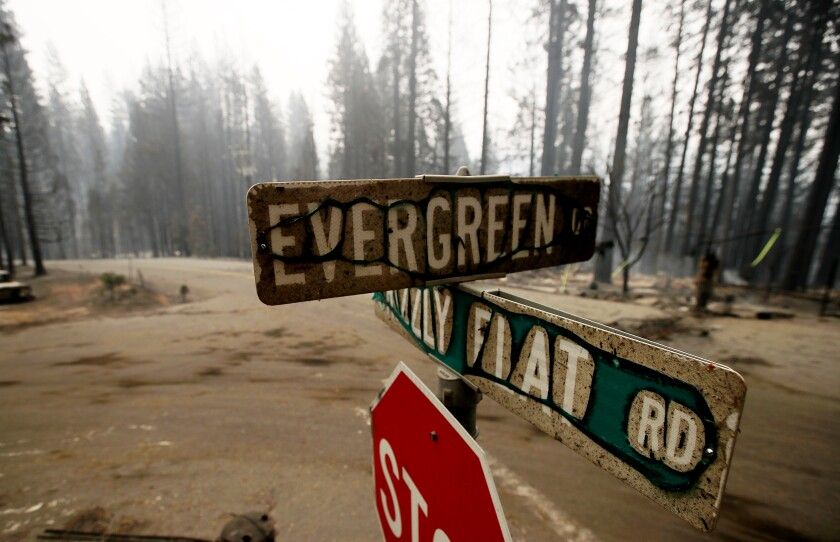 A burned stop sign at Evergreen and Grizzly Flat roads.