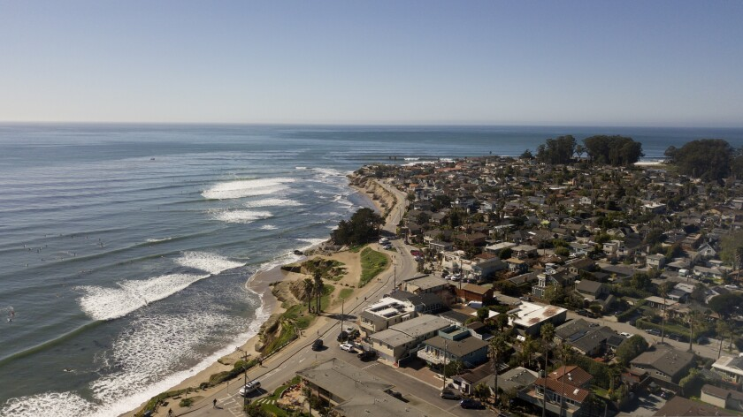 A drone view of Pleasure Point.