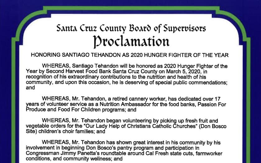 Santiago Tehandon's proclamation.