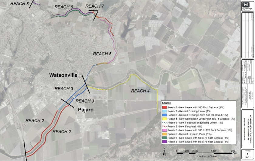 A map from a 2019 Army Corps report shows the proposed improvements to the levee system.