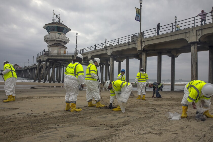 Workers comb a beach to remove any remnants of oil spill in Huntington Beach