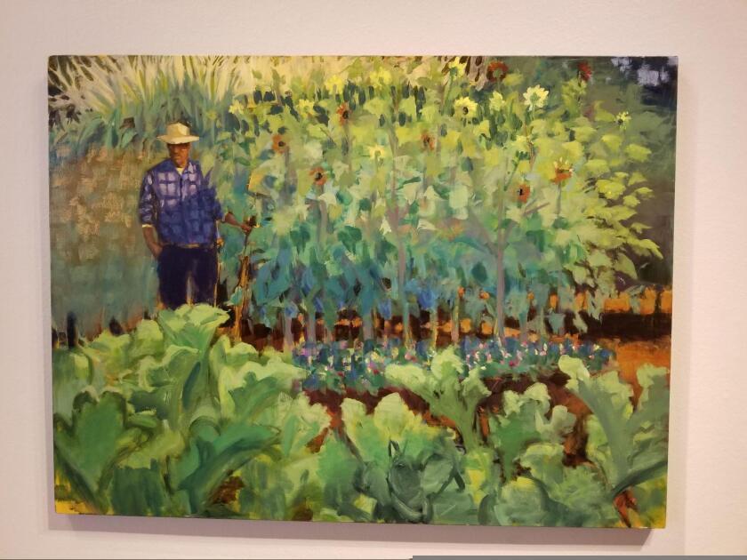 """""""Javier y el Jardin"""" by Richard A. Lopez from the """"Conexiones"""" exhibit at the MAH."""