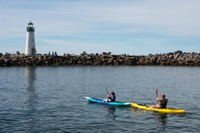 Kayakers near Walton Lighthouse in Santa Cruz