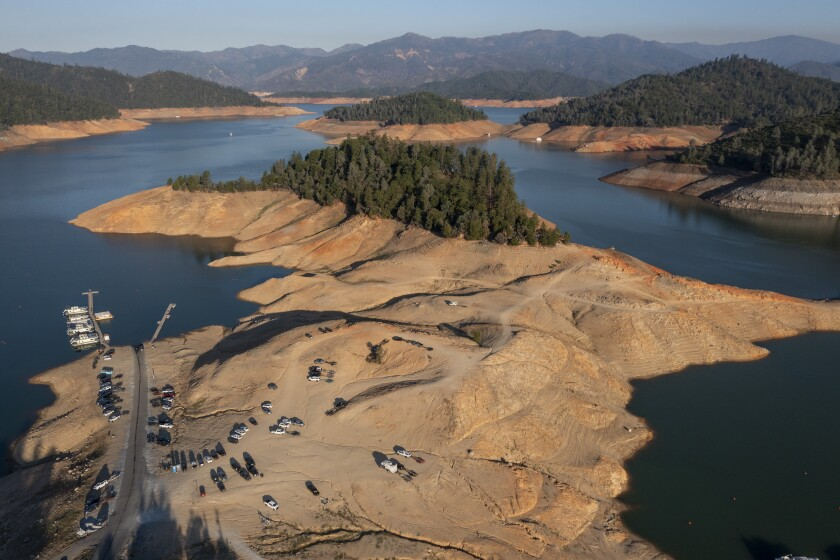 Water levels at Lake Shasta are lower as drought conditions persist June 30, 2021, in Lake Shasta, CA.