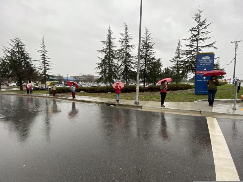 Nurses at Watsonville Community Hospital demonstrate outside the hospital, Wednesday, Jan. 27, 2021.