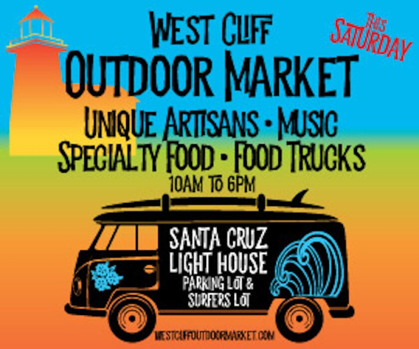 A promotional poster for the West Cliff Outdoor Market