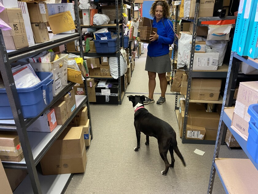 A woman holds boxes inside a parcel depot as a dog looks on.