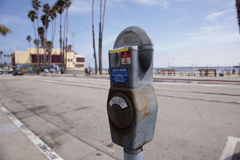 A parking meter near Main Beach in Santa Cruz.