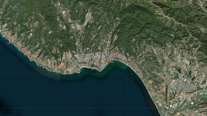 Satellite view of the rail corridor in Santa Cruz County.