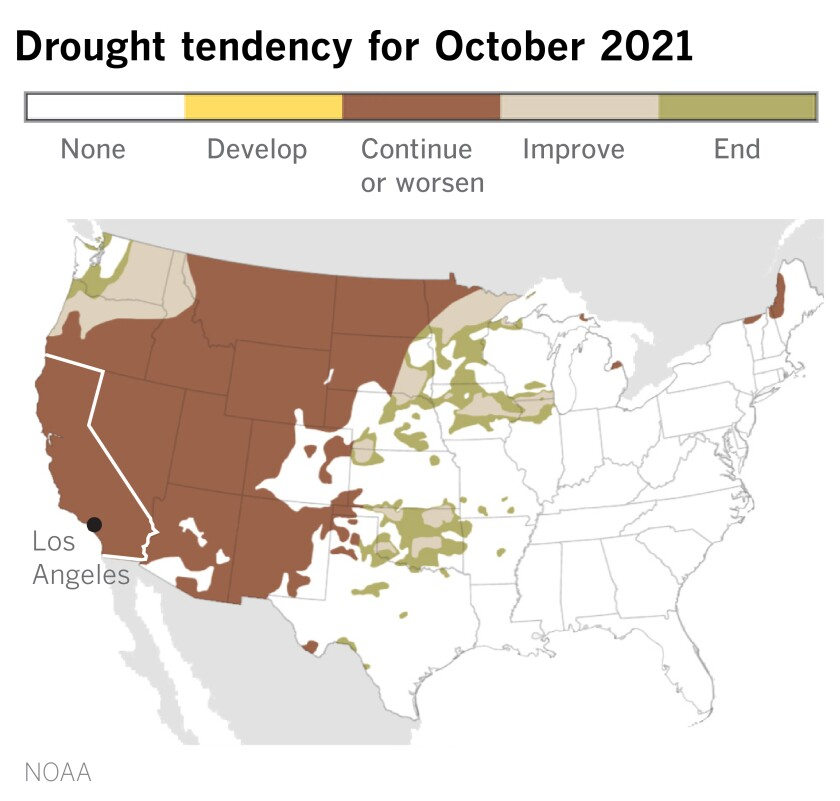 A map showing drought tendency in the U.S. for October.
