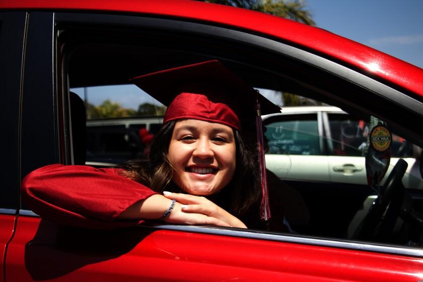 Alyssa Fairchild, the Santa Cruz High School student body president, at the 2020 Santa Cruz High graduation celebration.