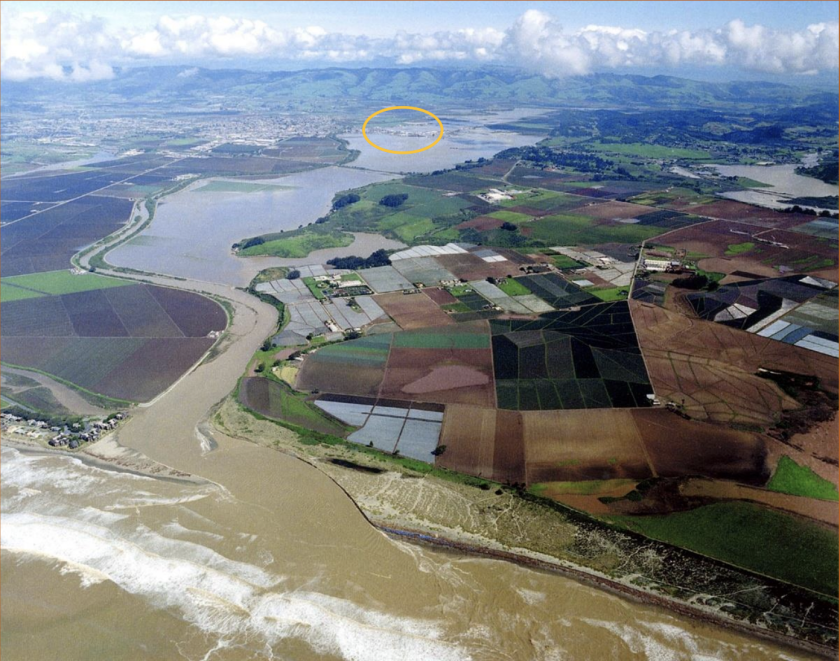 A photo from an Army Corps report shows flooding caused by a 1995 breach of the Pajaro River