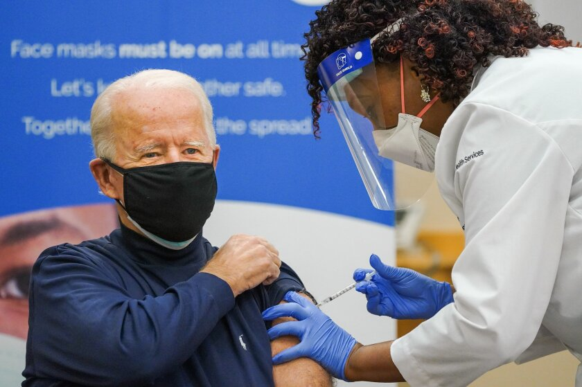 President-elect Joe Biden gets the COVID-19 vaccine on Dec. 21, 2020.