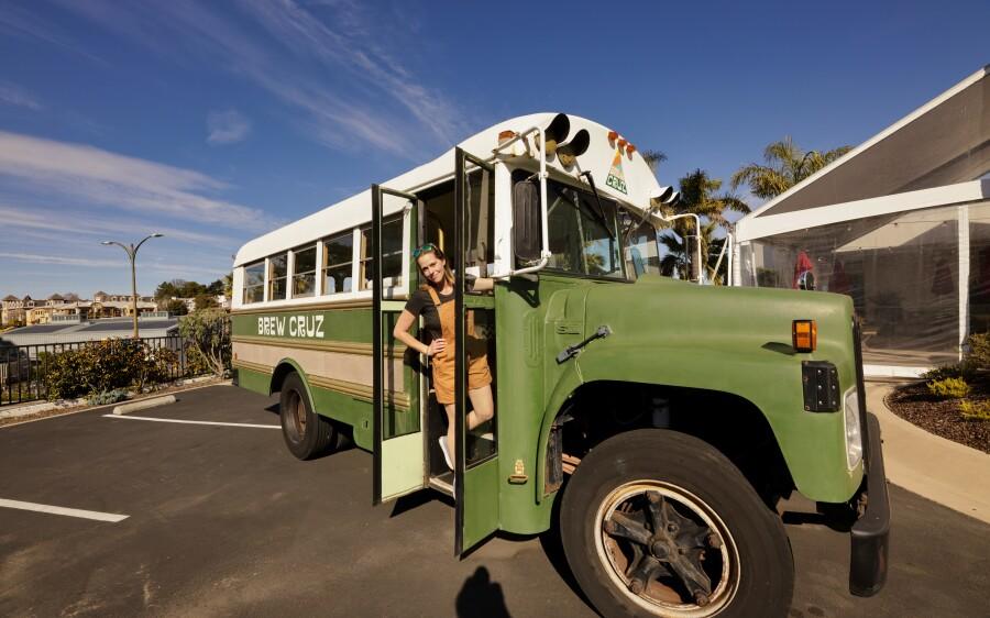 Annie Pautsch and her vintage converted school bus.