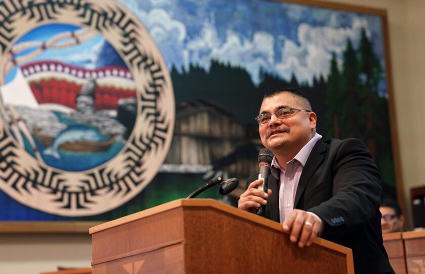 Yurok Tribal Chairman Joseph James, pictured here at the podium, gives his inauguration speech in 2018. Photo provided by Yurok Tribe
