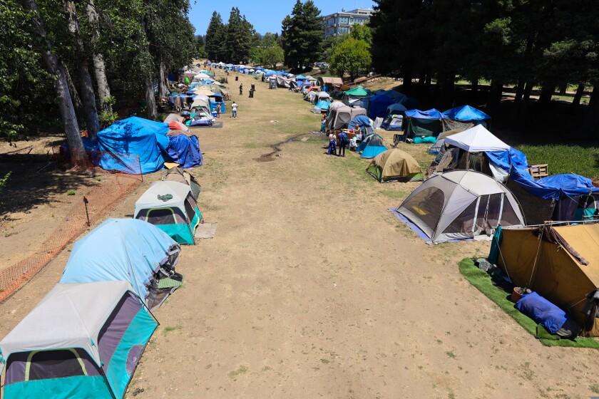 The homeless encampment at San Lorenzo Park as seen in June.