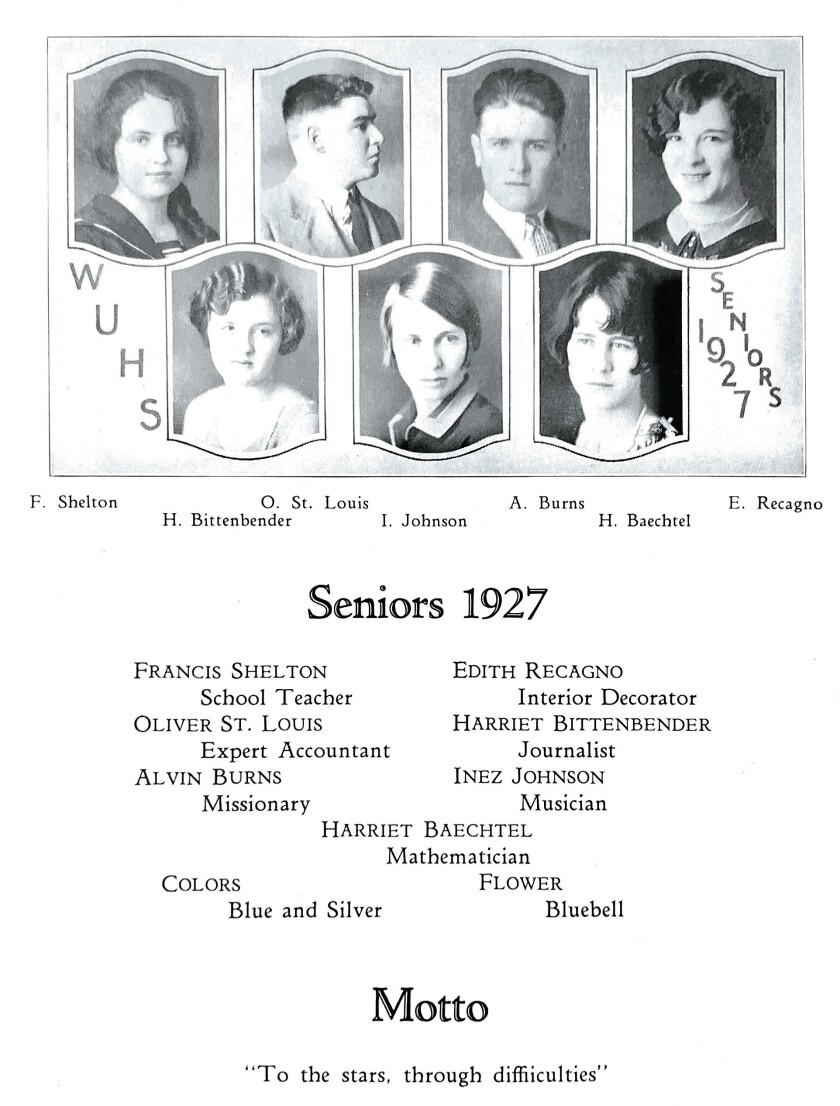 Headshots, including Edie Ceccarelli's, from a senior yearbook.