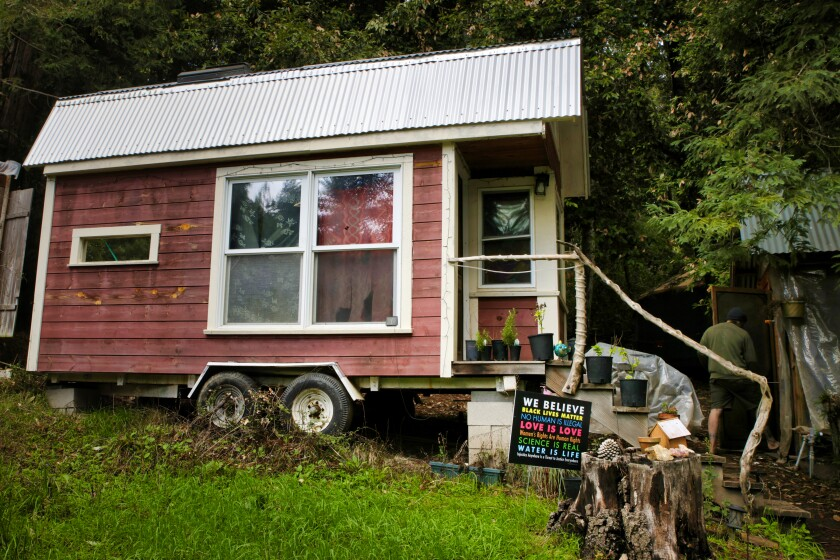 Travis Saenz of Adventure Cabins, a San Bernardino company that makes tiny homes.