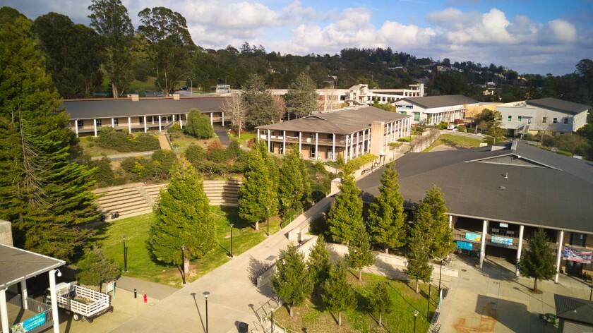 An aerial view of Cabrillo College's Aptos campus.