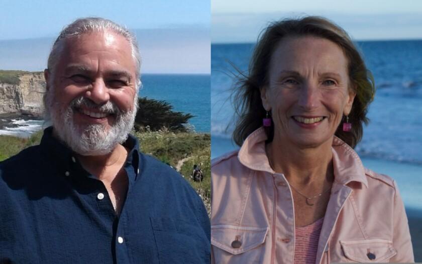 Tim Goncharoff, County of Santa Cruz's Zero Waste Programs Manager, Katherine O'Dea, executive director of Save Our Shores