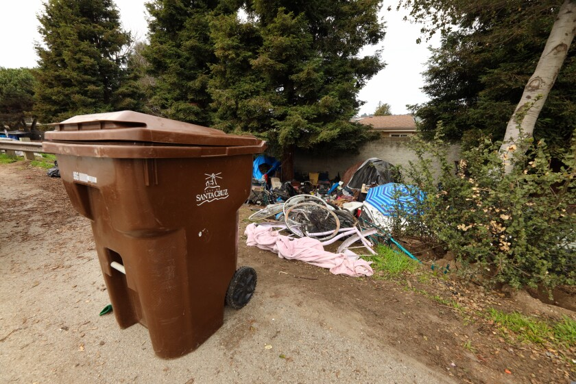 Santa Cruz officials are concerned about trash buildup in the homeless encampment around Highways 1 and 9.