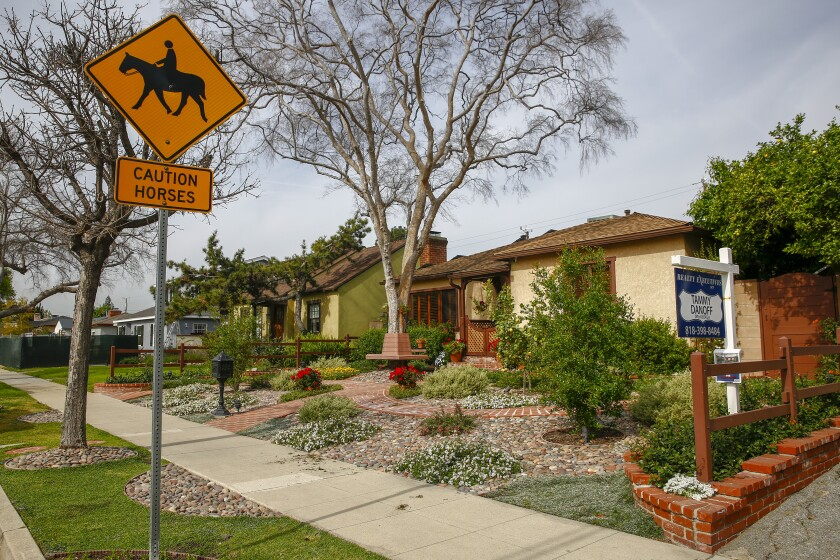 A home for sale along Elm avenue, on Tuesday, March 26, 2019 in Burbank, Calif.