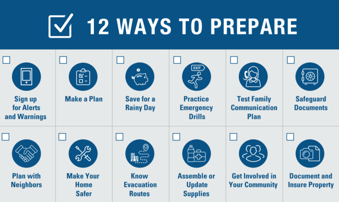 12 ways to prepare for disaster from FEMA