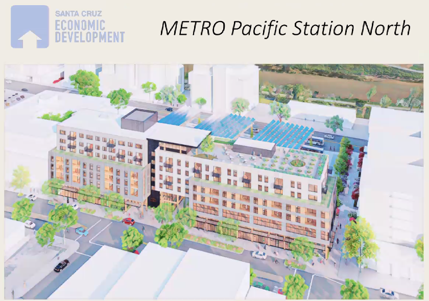 A rendering of the mixed-use Pacific Station North development.