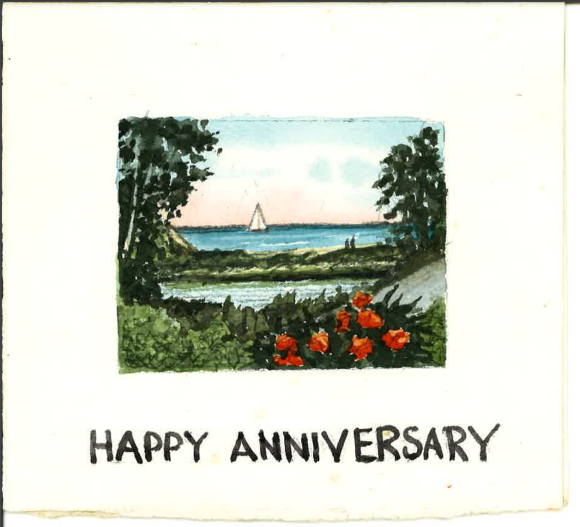 Anniversary card that Dave sent to his wife Virginia, showcasing the view that they enjoyed in their home!