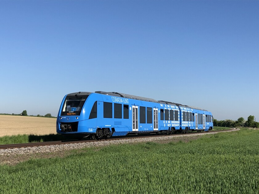 An image of Coradia iLint, a hydrogen fuel cell powered train