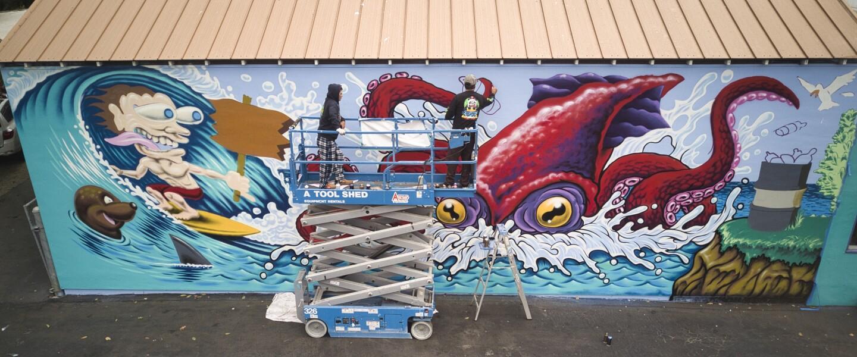 """Jimbo Phillips' """"Plastic Pollution"""" mural"""