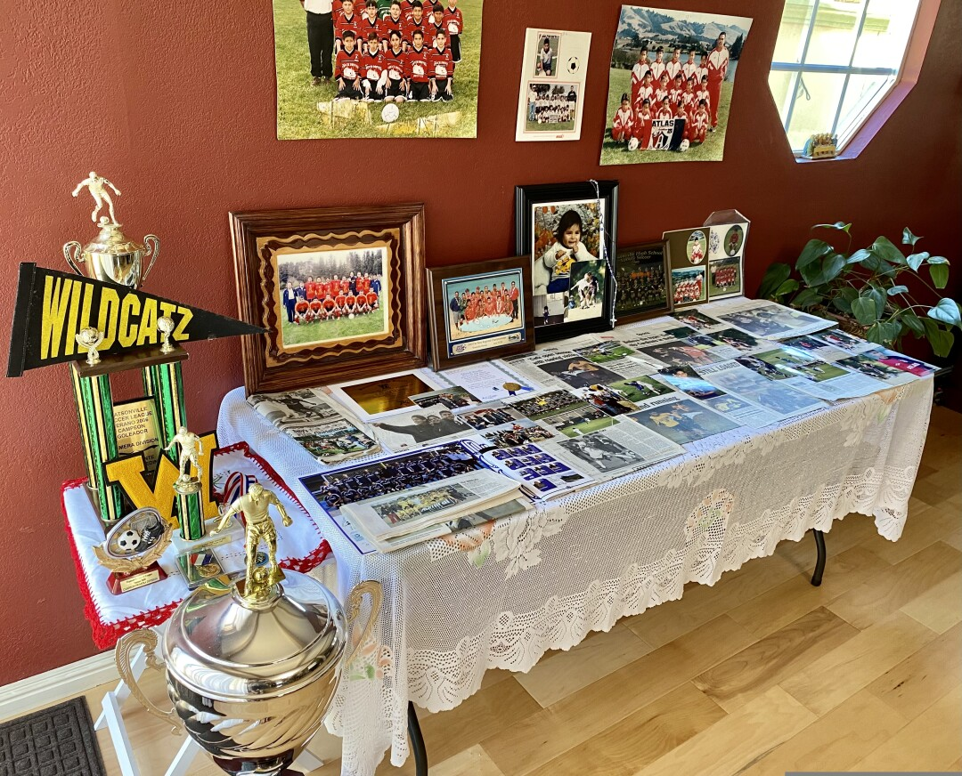 A table at the Murillo-Jimenez home showcases all of Lalo's soccer achievements.