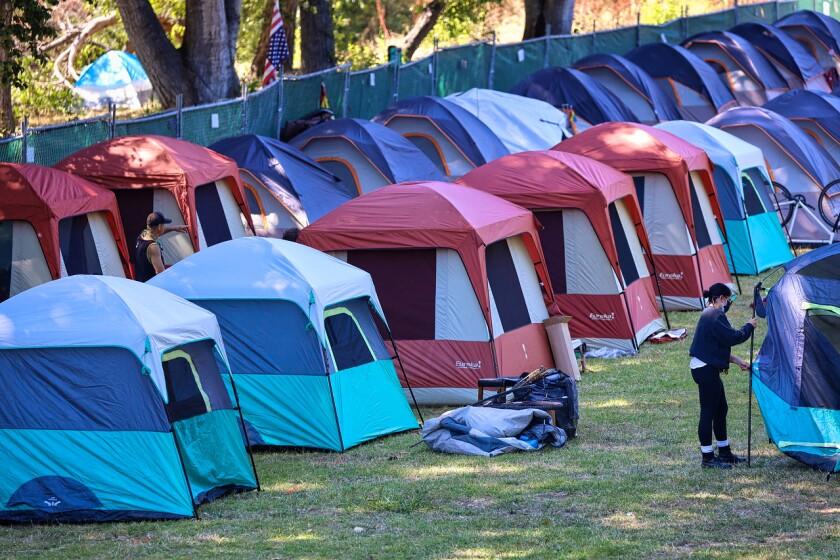 Homeless encampment at San Lorenzo Park