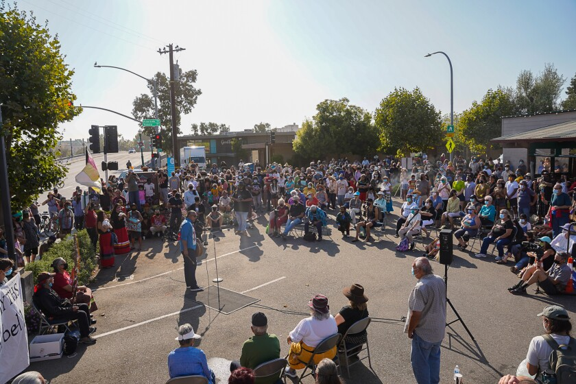 An overhead shot of the crowd at Saturday's bell removal event