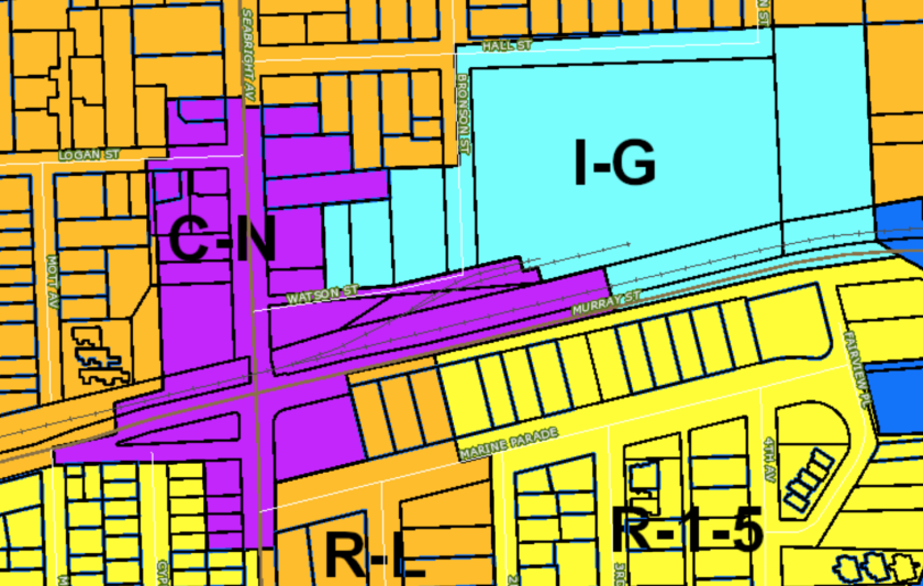 A city map shows the neighborhood commercial and industrial zones in Seabright.