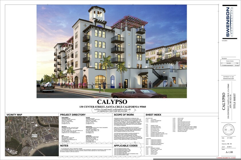 Drawings of a project planned for 130 Center Street in Santa Cruz.