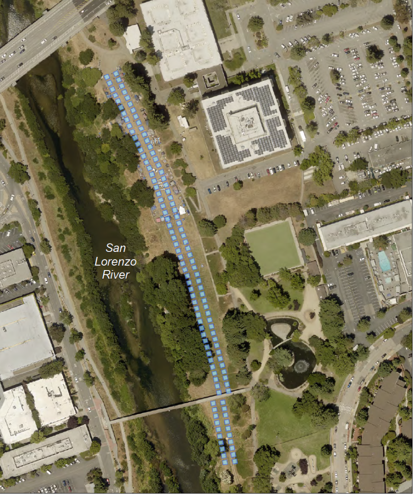 The blue dots (above) represent the 12-foot by 12-foot campsites that will make up the Benchlands encampment.