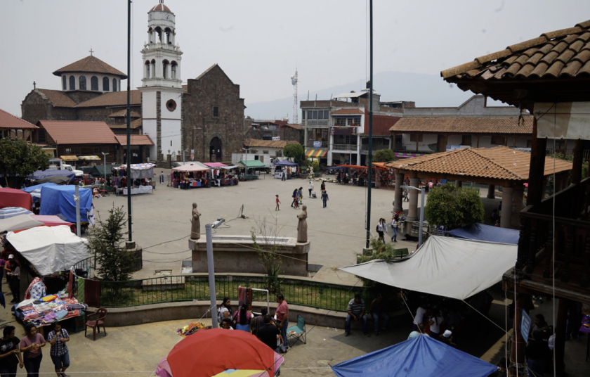 The central plaza of Cheran, Mexico.